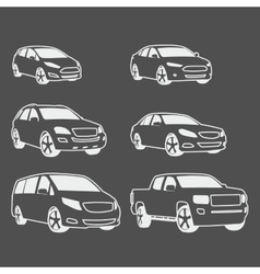 Car icons set Linear style vector image