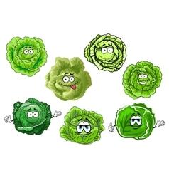 Cartoon crunchy green cabbage vegetables vector
