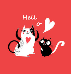 celebratory card with enamored cats vector image
