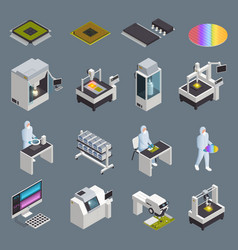 Chip production icon set vector