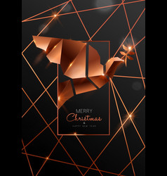 christmas and new year card 3d art deco dove vector image
