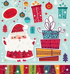 christmas with santa claus and gift boxes vector image