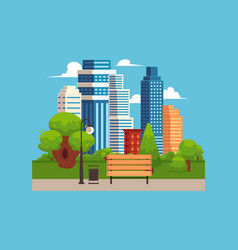 city park landscape with tall urban buildings on vector image