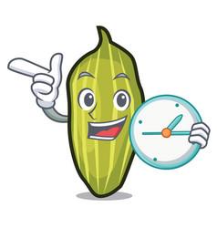 Clock cardamom character cartoon style vector