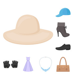 clothes and accessories cartoon icons in set vector image