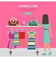 Clothing store set of women clothes items vector