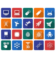 collection of rounded square icons high technology vector image