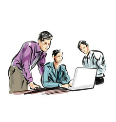 Color line sketch of people working in the office vector