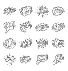 Comic colored sound icons set outline style vector