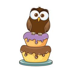 cute little owl bird character vector image