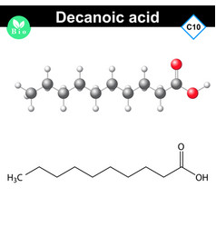 Decanoic acid atomic structure vector