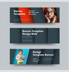 design horizontal web banners in style of vector image