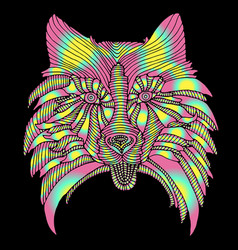 Dog head bright psychedelic animal pattern vector