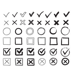 Doodle check marks hand drawn checkbox vector