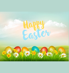 easter holiday background colorful eggs in green vector image