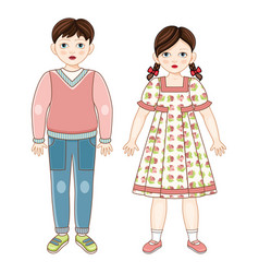 flat brunette boy and girl kids smiling vector image