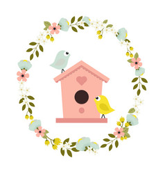 flower wreath with birdhouse vector image