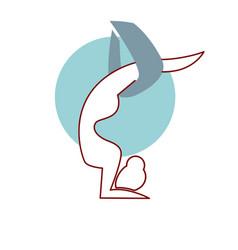 fly yoga logo design isolated head over heels air vector image