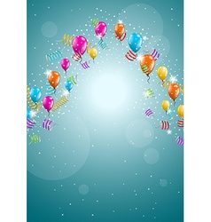 Flying balloons on blue background vector