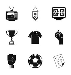 Football briefing icons set simple style vector