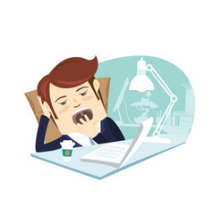 Funny business man yawning at his workplace flat vector