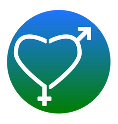 gender signs in heart shape white icon in vector image