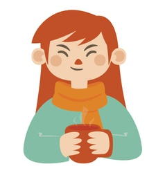 Girl Holding Hot Mug vector