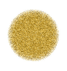 Gold glitter texture circle isolated on white vector