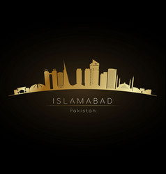 golden logo islamabad skyline silhouette vector image