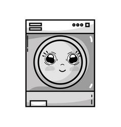 Grayscale kawaii cute happy washing machine vector