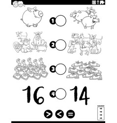 greater less or equal task for children coloring vector image