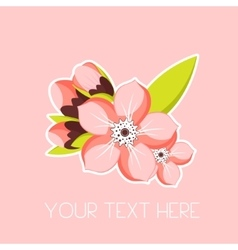 Greeting card with apricot blossom branch Spring vector