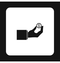 Hand pays for parking icon simple style vector