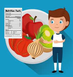 Happy boy with nutrition facts vector