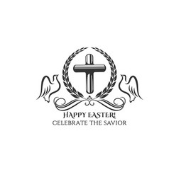 Happy easter cross and doves icon vector