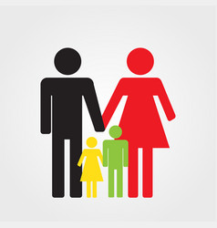 happy family icon color parents and two children vector image