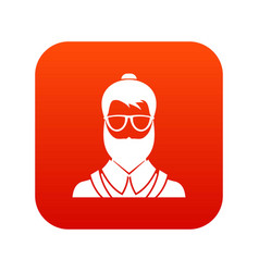 hipsster man icon digital red vector image