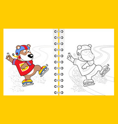 Ice skating with funny bear cartoon vector