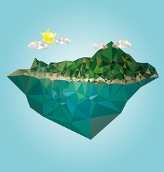 Island with mountain low poly style vector image