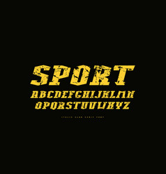 italic slab serif font in athletic style vector image