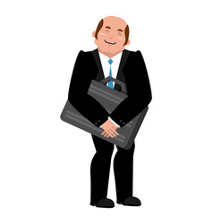Joyful businessman hugs suitcase with money boss vector
