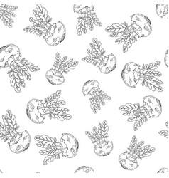 kohlrabi hand drawn seamless pattern vector image