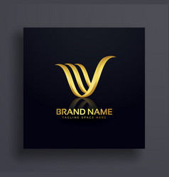 Letter v creative premium golden logo design vector