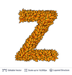 letter z sign of autumn leaves vector image
