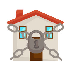 Locked house with chains and lock secure home vector