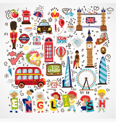 London landmark symbols hand drawn vector