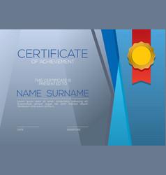Modern style blank blue certified template vector