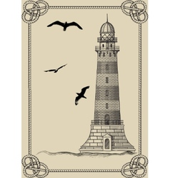 Old lighthouse in frame vector