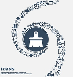 Paint brush Artist icon sign in the center Around vector