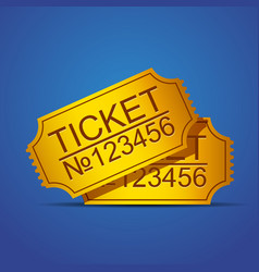 Pair of yellow cinema tickets on blue vector